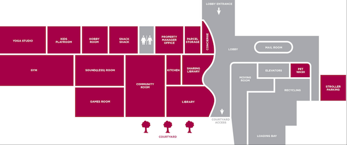 Reina Condos-amenity map