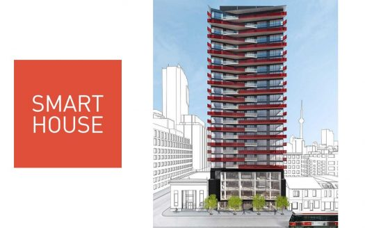 smart house condos rendering with logo