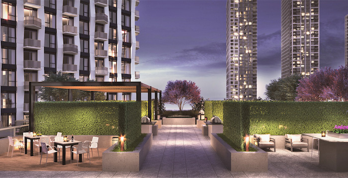 Westerly Condos - outdoor lounge at night