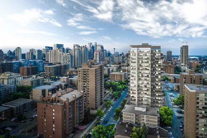 Nude Condos - downtown aerial view - new condos in calgary