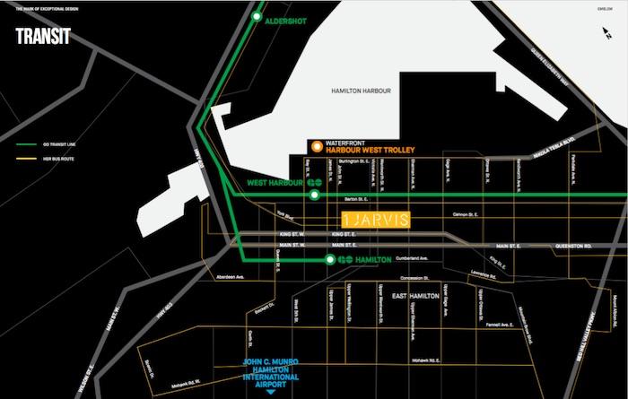 1 Jarvis Condos - transit map