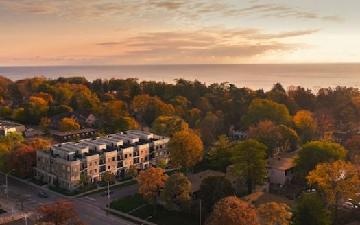 Harbour Place Towns - aerial view - new townhomes oakville - 95 brookfield rd