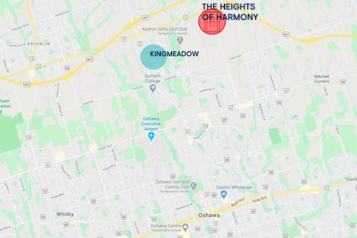 Heights of Harmony - location map - new north oshawa homes and townhomes