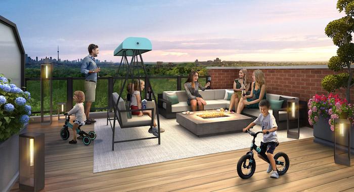 Richmond Hill Grace Townhomes - children on rooftop deck