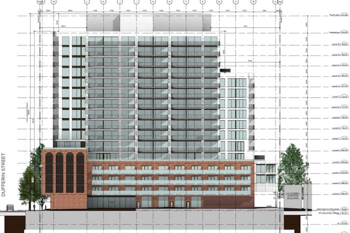 2 Temple Ave Condos - front architectural drawing - new parkdale condos