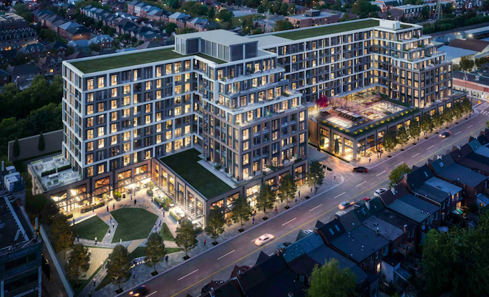 840 Dupont St - nighttime aerial - new christie pits condos