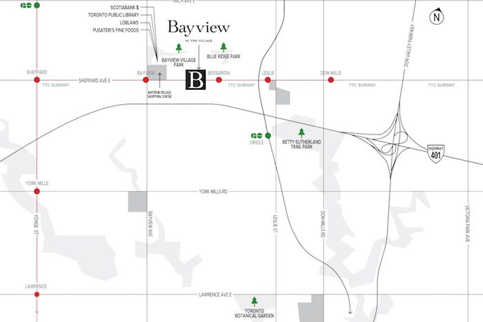 Bayview at The Village Condos - area map
