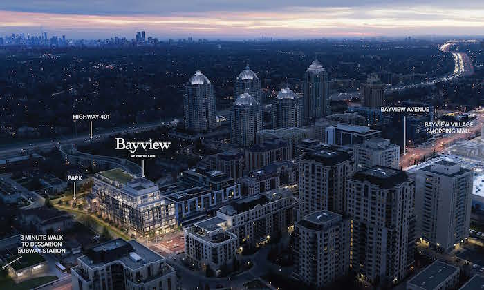 Bayview at the Village - aerial view